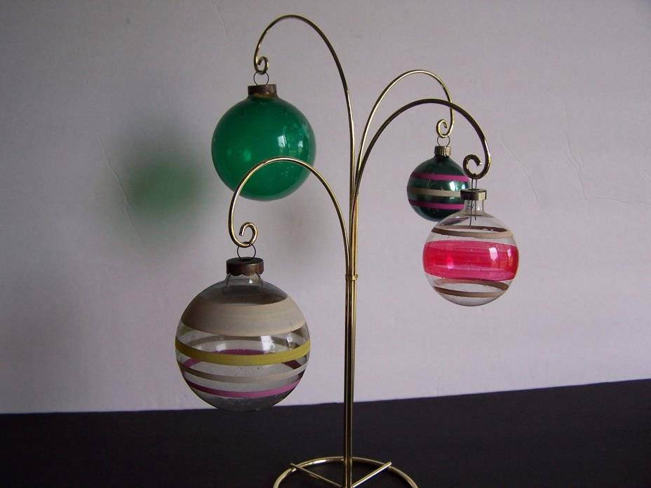 Vintage  ~ 4 Post War Vintage Mica Stripped Christmas Ornaments