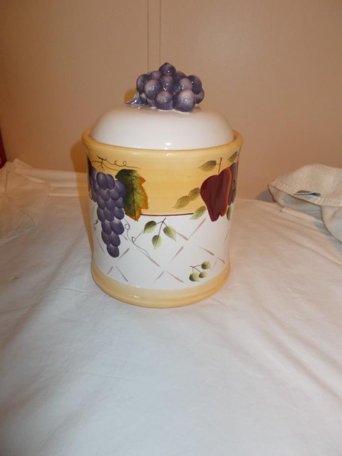 Home Interiors Sonoma Villa Canister Grape Handle 10