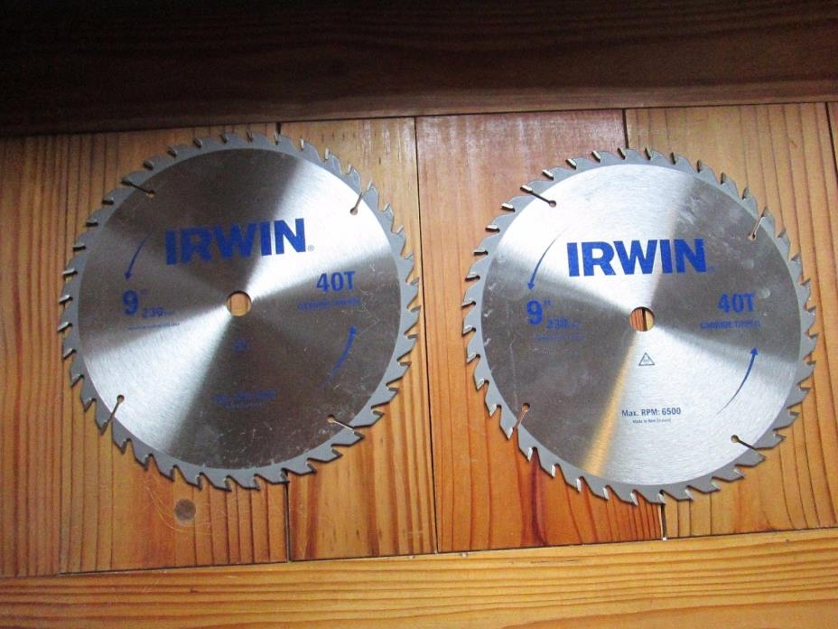 (2) 9 inch Carbide Tip 40 tooth Irwin Saw Blades