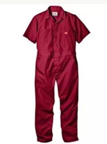 Dickies 33999RD S RG Mens Short Sleeve Red Poplin Cover all, Small Regular
