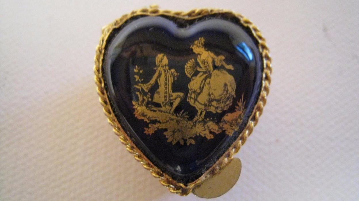 Vintage Limoges cobalt blue heart shaped tiny 1