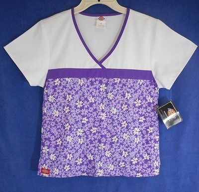 Scrub Top Womens Dickies Brand Size XS Lavender Purple Floral  NWT 100% Cotton