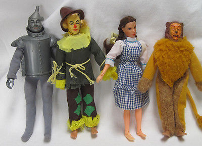 Wizard of Oz Cowardly Lion, Scarecrow, Tin Man and Dorothy  Mego 1974
