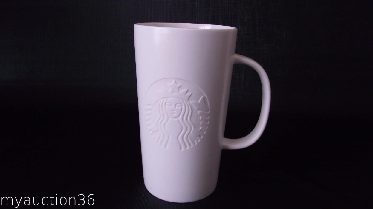 Starbucks Embossed Etched Siren Mermaid Logo Tall White Coffee Mug 16 oz