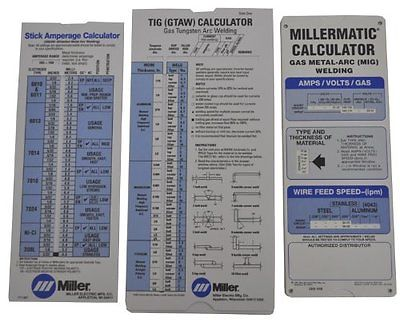 Miller 043125 Package, Miller Calculator Pak ALL 3! Tig, mig stick welding specs