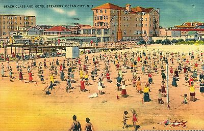 Vintage New Jersey Postcard  --  Beach and Hotel Breakers - Ocean City, N.J.