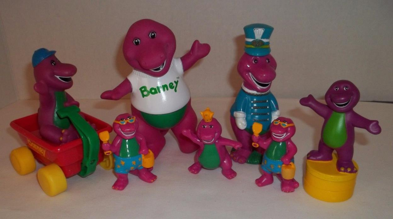 Vintage BARNEY Purple Dinosaur Figures Lot of 7 Cake Toppers