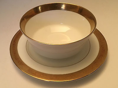 MIKASA White and Gold trim GRAVY BOAT BOWL AND UNDERPLATE HARROW A1-129