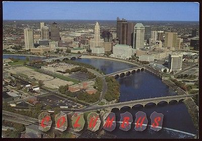 Vintage COLUMBUS Ohio SKYLINE River BRIDGES Downtown OH POSTCARD