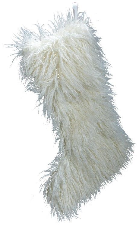 Christmas stocking winter white faux fur BZ007 posable 24