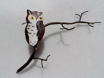 Vintage Jere Era Enamel on copper owl  Branch Wall  Sculpture