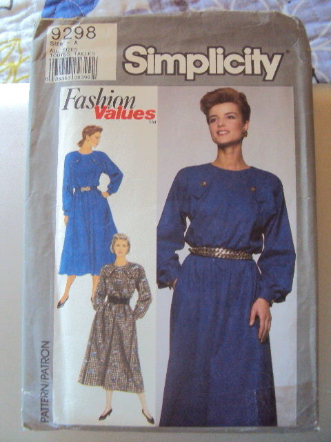 Simplicity Dress Pattern 9298 UNCUT sizes 8-18 Vintage Free Shipping