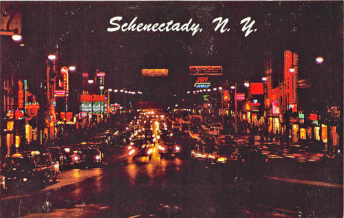 Schenectady NY State Street Storefronts Old Cars Night View Postcard