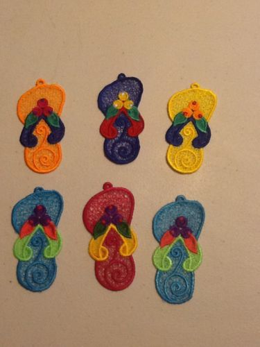 Embroidered Flip Flop Ornaments Set Of Six