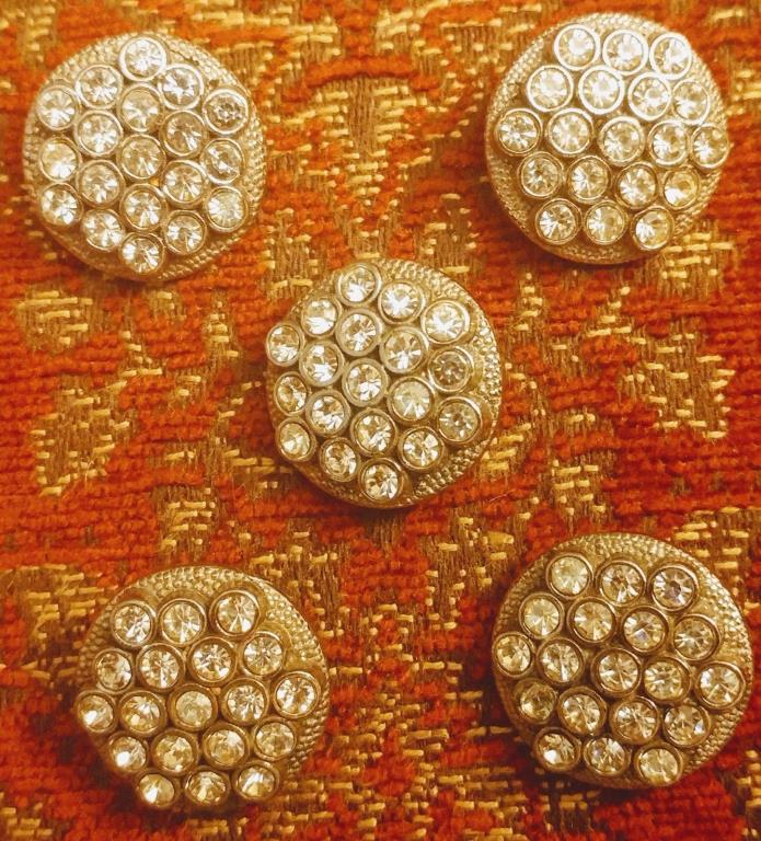 5 VINTAGE 14MM CLEAR RHINESTONE HEXAGON ROUND SHAPE BUTTONS