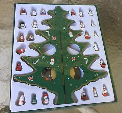 Lot of Painted Wooden Miniature Mini Christmas Tree Ornaments and Tree