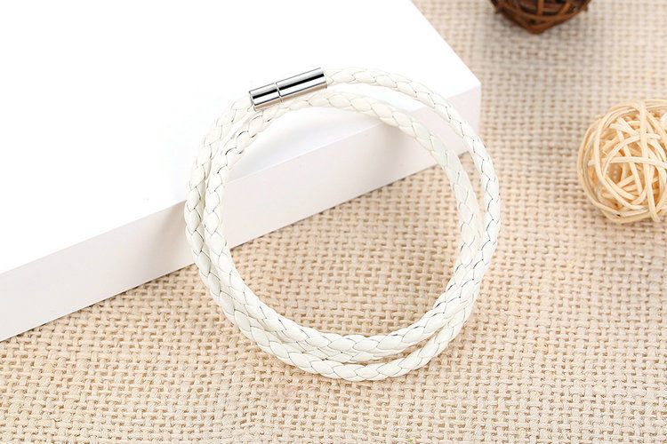 Men's Leather Bracelet White
