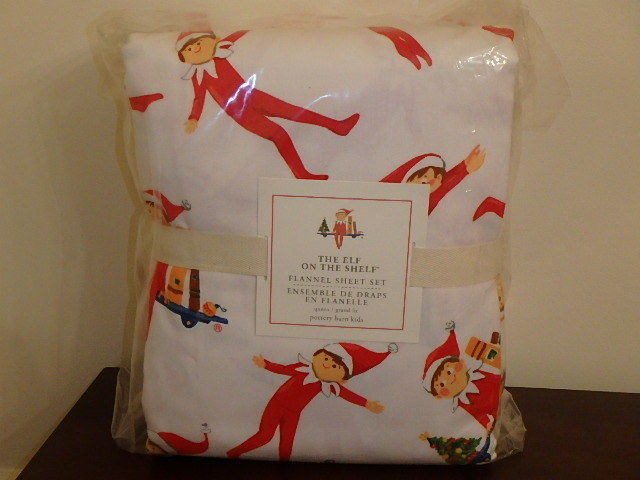 POTTERY BARN KIDS ELF ON A SHELF FLANNEL SHEETS 4 PIECE QUEEN SIZE NEW CHRISTMAS
