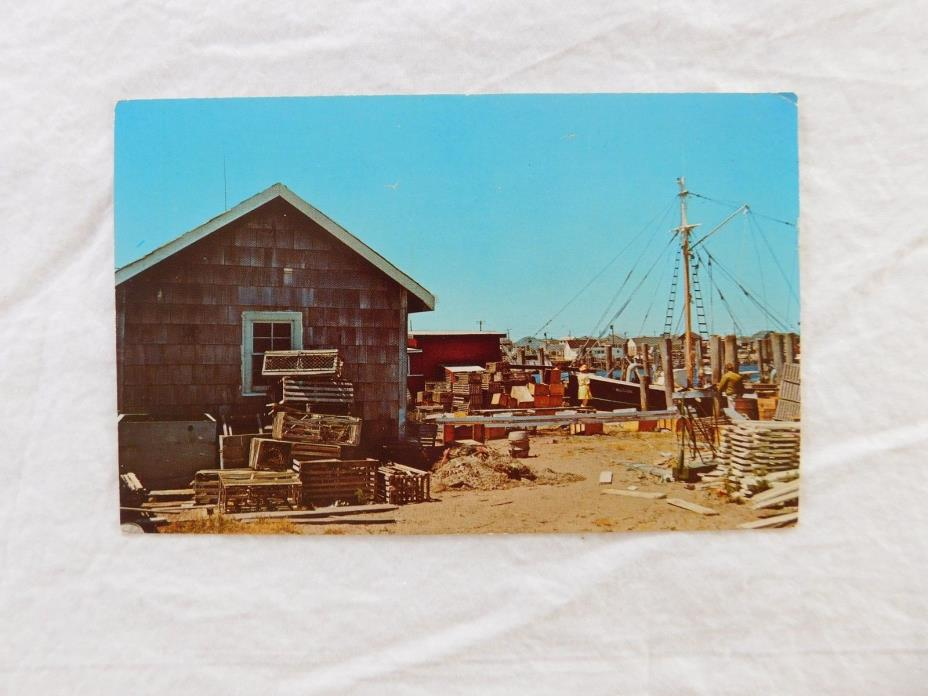 Vintage Postcard: Lobster Traps & Fishing Dragger in New England