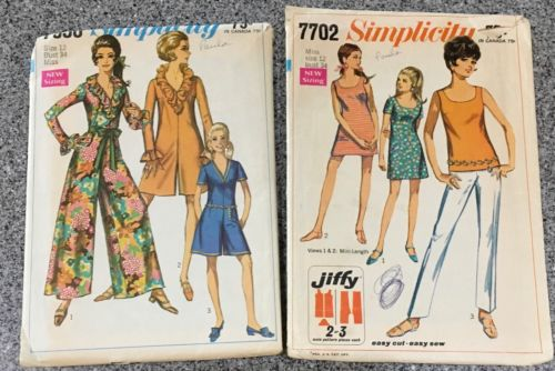 2 Mod Sewing Patterns Simplicity 1968 Vintage Pant dress And Dress Sz 12 Bust 34