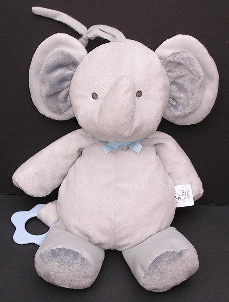 Carters Just One You Elephant Grey Blue ROCK A BYE Baby Crib Musical Plush Toy
