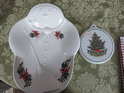 Pfaltzgraff USA Christmas Heritage Snowman Plate and Cookies for Santa Mold