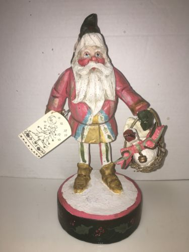 "House of Hatten 11"" Santa Elf Goose in Basket  Denise Calla Enchanted Forest"