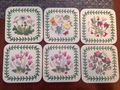 Portmeirion Botanic Garden Flowers Cork Backed Square Coasters Set of 6
