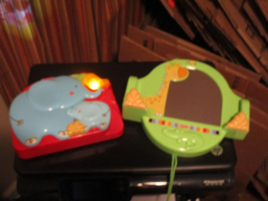 Fisher Price Luv U Zoo Crib 'n Go Projector Soother Mirror Base  Blue Elephants