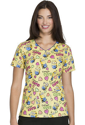 (Tres Tres Cute) Cherokee Tooniforms Print Scrub Top TF614 DPTR Free Shipping!