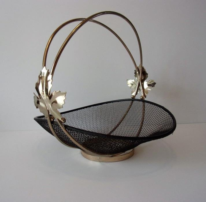 UNIQUE VINTAGE  BLACK MESH METAL BASKET