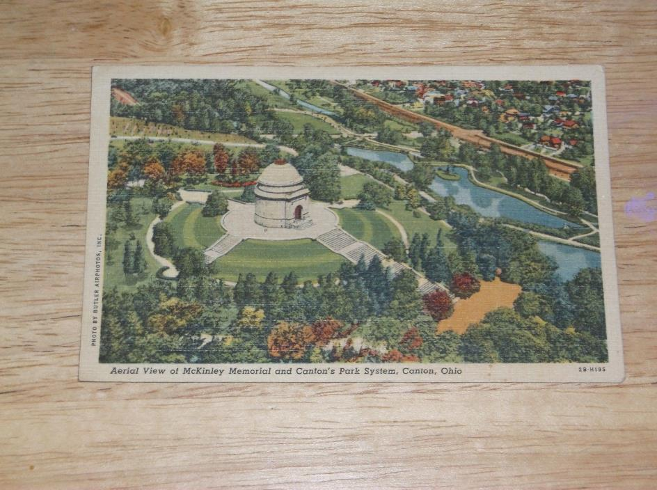VINTAGE POSTCARD AERIAL VIEW OF McKINLEY MEMORIAL AND CANTON'S PARK SYSTEM OHIO
