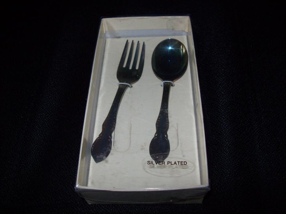 NEW in Box Rogers Bros Reflection baby fork and spoon silverplate flatware
