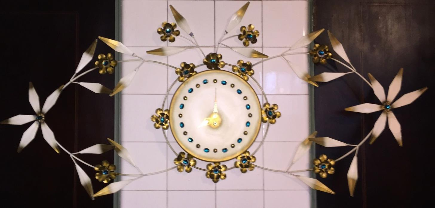 Vintage 1950s 50s Recency French Gold Turquoise Huge Floral Metal Tole Clock