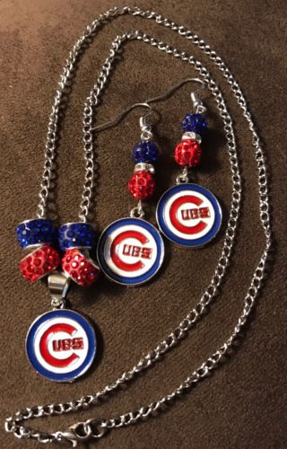 Chicago Cubs Bling necklace and earrings set with Logo charms