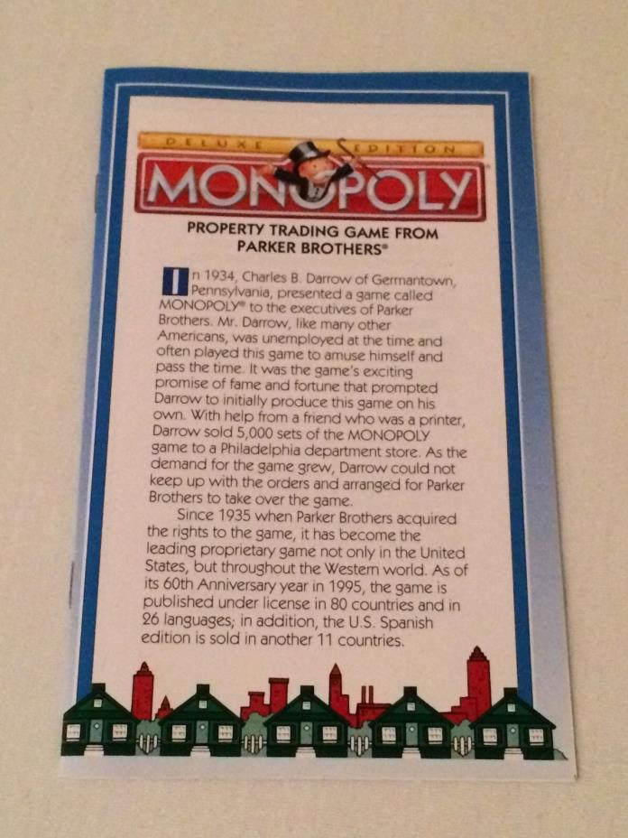 Monopoly Deluxe Edition Game Replacement Instructions Manual Booklet