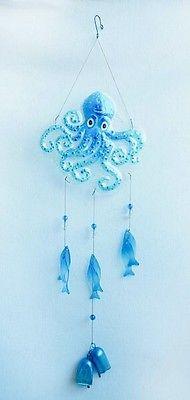 December Diamonds octopus fish glass windchime nautical, lake, beach, house