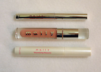 Mally 3 pc Black Volumizing Mascara H3 Pink Daisy Lip Bronze Shadow Stick NEW