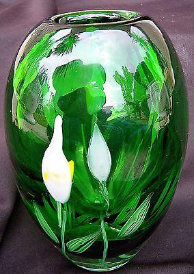 Signed Mid Century 1956 ART GLASS VASE floating flowers AP Lundberg Flume Era