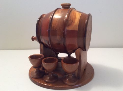 RARE TEQUILA BARREL WOODEN HANDMADE WITH SHOOTERS BAR SET DECORATIVE