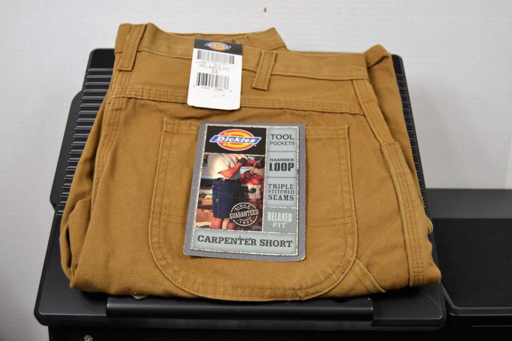 Dickies Men's Relaxed Fit Duck Carpenter Short Tool Pockets Hammer Loop 34 Waist