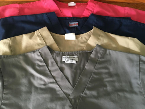 Lot 4 medical dental scrubs nurse vet tops XS basic v-neck pink blue khaki tan