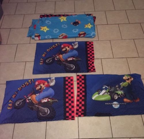 Mario Kart Wii Twin Size Sheet Set One Flat & Three Pillow Cases Kraft Material
