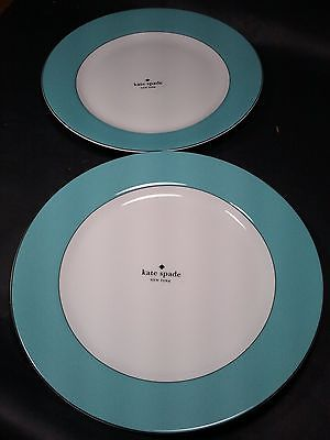 Kate Spade RUTHERFORD CIRCLE Turquoise Dinner Plates - Set of Two - NEW