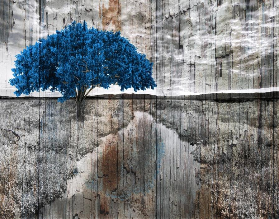 Rustic Modern Brown Blue Decor, Tree Landscape, Country Home Wall Art Picture