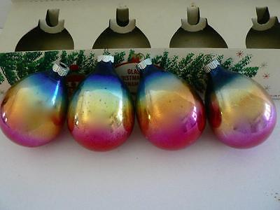 4 SHINY BRITE RAINBOW OMBRE DROPLET TEARDROP BLUE PINK CHRISTMAS ORNAMENTS