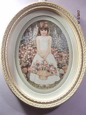 Home Interior Oval Picture~Girl with Flower Basket