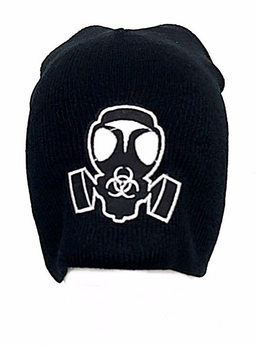 White Gas Mask Biohazard Symbol Embroidered Patch Beanie Black Punk Zombie Goth