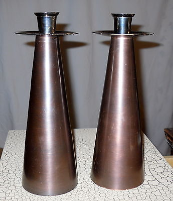 Pair Mid Century Modern Danish Copper Look Candlesticks Burnished Metal Vintage