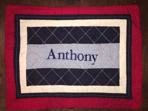Pottery Barn Kids Red White Blue Quilted Pillow Sham Case Standard ANTHONY New